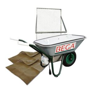 BEGA Starter-Set 05 Dämpfschubkarre 70 Liter, Durchwurfsieb 1.000, 2x Jutefilter