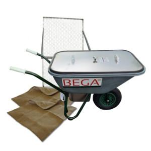 BEGA Starter-Set 06 Dämpfschubkarre 110 Liter, Durchwurfsieb 1.000, 2x Jutefilter